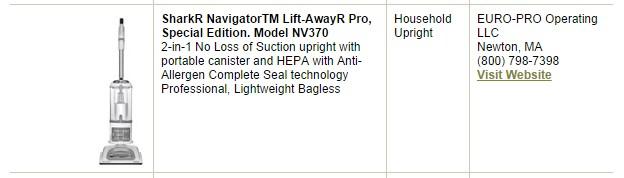 Shark NV370 CRI approved
